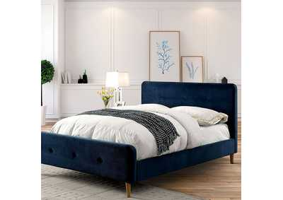 Image for Barney Navy Queen Upholstered Platform Bed