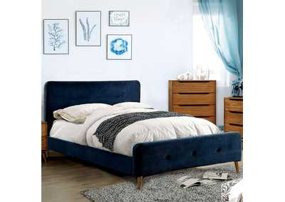 Image for Barney Navy Full Upholstered Platform Bed