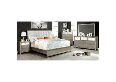 Image for Bryant Silver Faux Crocodile Panel California King Platform Bed w/