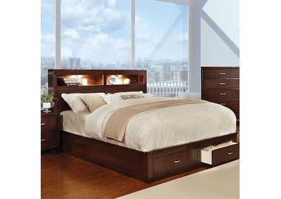 Gerico II Brown Queen Platform Storage Bed
