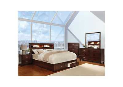 Gerico Brown Cherry Queen Bed,Furniture of America