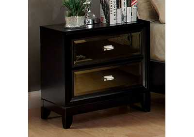 Golva Black Nightstand w/Gold Mirror Panels,Furniture of America