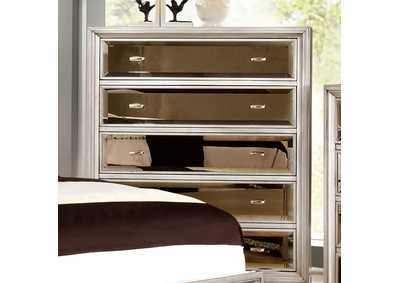 Golva Silver Drawer Chest w/Gold Mirror Panels,Furniture of America