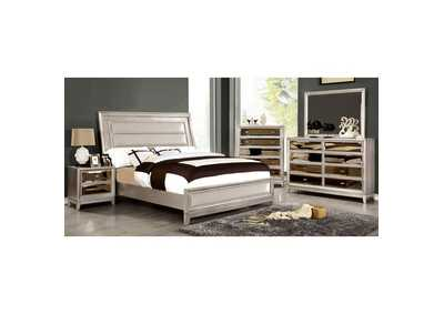 Image for Golva Silver Queen Upholstered Platform Bed w/Padded FB