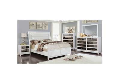 Golva White Upholstered Eastern King Panel Bed
