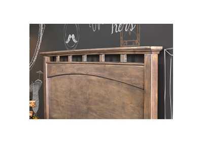 Loxley Weathered Oak Queen Low Profile Panel Bed,Furniture of America