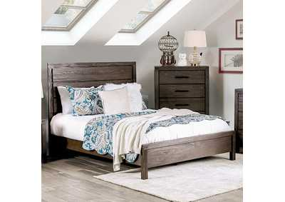 Rexburg Dark Gray Wire-Brushed Queen Low Profile Bed