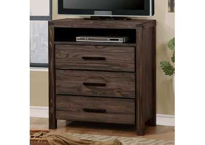Rexburg Wire-Brushed Rustic Brown Media Chest