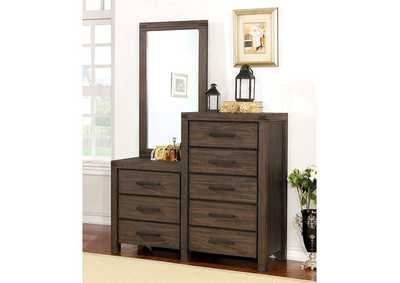 Rexburg Wire-Brushed Rustic Brown 8-Drawer Dresser Mirror,Furniture of America