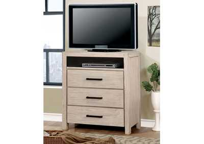Image for Strasburg Wire-Brushed White Media Chest