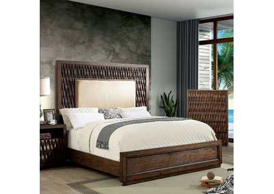 Image for Eutropia Warm Chestnut Queen Platform Bed w/Upholstered HB