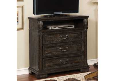 Genevieve Distressed Walnut Media Chest,Furniture of America