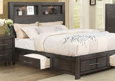 Image for Karla Gray Queen Bookcase Storage Bed