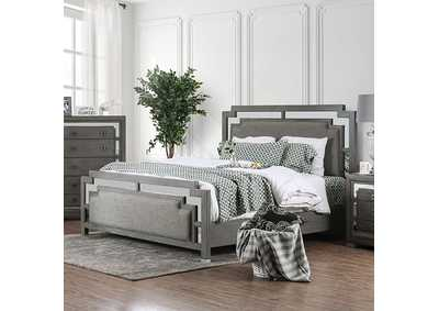 Jeanine Blue Upholstered California King Platform Bed