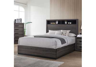 Conwy Gray Eastern King Storage Platform Bed