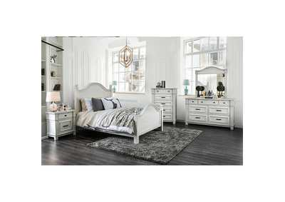 Daria Antique White Camelback California King Panel Bed