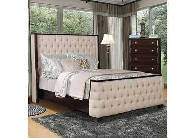 Image for Camille Beige/Espresso Upholstered Full Bed
