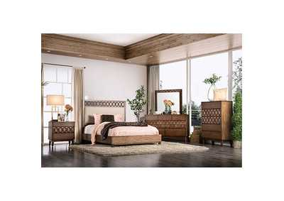Kallisto Chestnut Brown Queen Upholstered Panel Bed