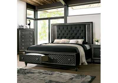 Demetria Black/Metallic Gray Eastern King Storage Bed w/LED Trim