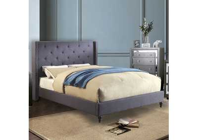 Anabelle Blue Upholstered Queen Platform Bed