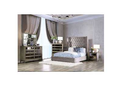 Mirabelle Grey Upholstered Queen Bed,Furniture of America