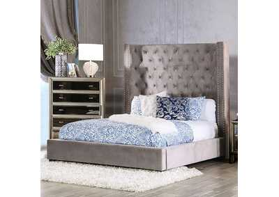 Mirabelle Grey Upholstered Eastern Bed,Furniture of America