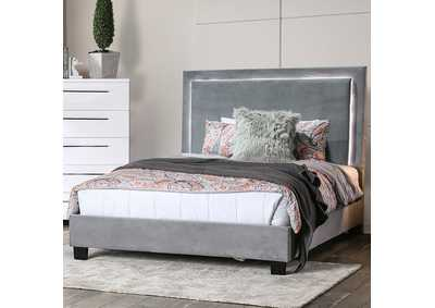 Image for Erglow I Gray Flannelette Twin Platform Bed