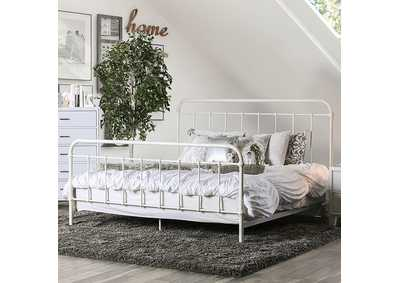 Iria Vintage White Queen Platform Bed