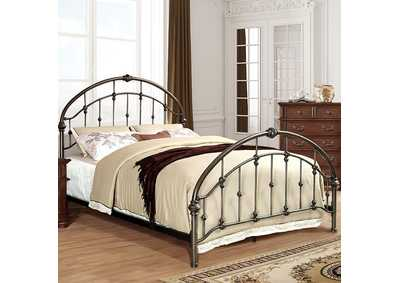 Carta Brushed Bronze Metal Queen Platform Bed