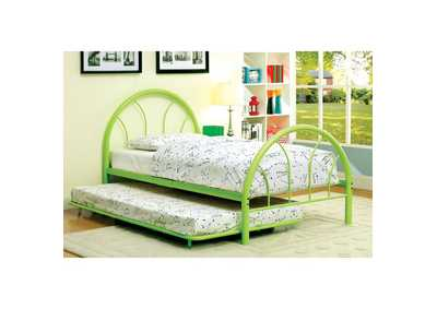 Image for Rainbow Green High Headboard Full Metal Platform Bed