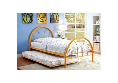 Image for Rainbow Orange High Headboard Full Metal Platform Bed