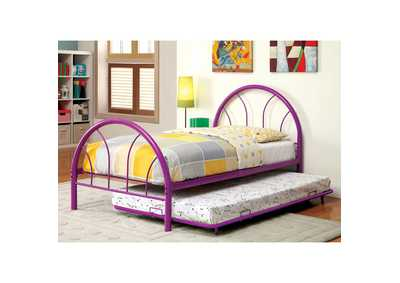 Image for Rainbow Purple High Headboard Full Metal Platform Bed