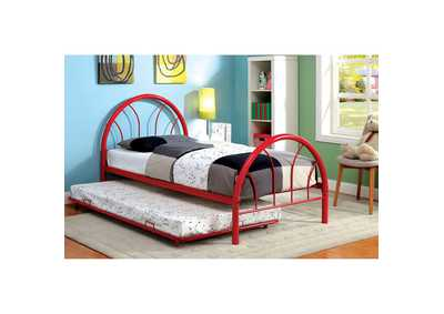 Image for Rainbow Red High Headboard Full Metal Platform Bed