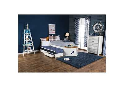 Voyager White/Oak/Navy Blue Twin Captain Bed w/Trundle and 2 Drawers,Furniture of America