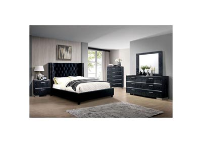 Cayla Black Upholstered Queen Platform Bed,Furniture of America