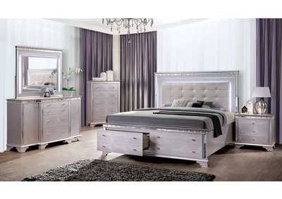Claudette White Upholstered 2 Drawer King Bed