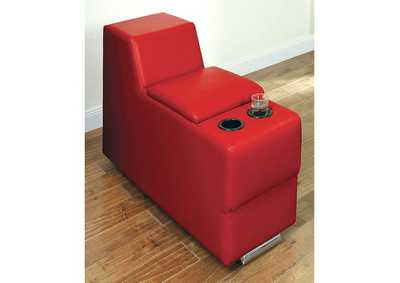 Image for Floria Red Bonded Leather Storage Console