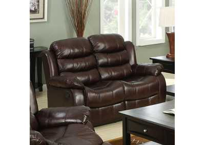 Berkshire Rustic Brown Loveseat w/2 Recliners,Furniture of America