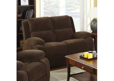 Haven Dark Brown Loveseat w/2 Recliners,Furniture of America