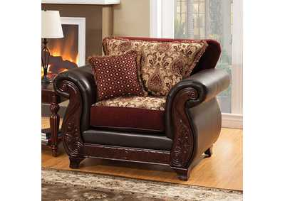 Franklin Burgundy Chair,Furniture of America