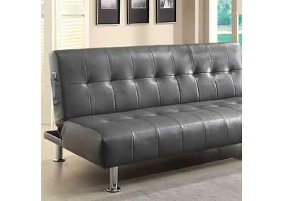 Image for Bulle Gray Leatherette Futon Sofa