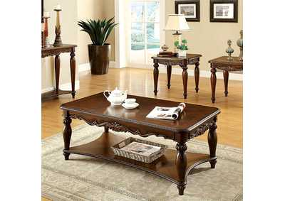 Image for Bunbury 3 Piece Cherry Table Set w/Open Shelf (Coffee & 2 End Tables )