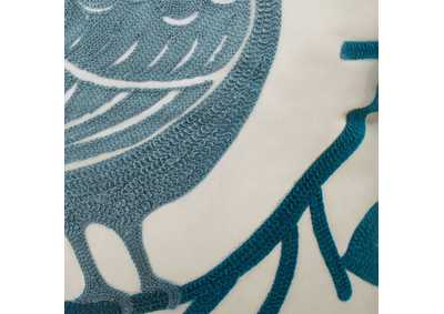 Image for Twit Blue & Ivory Bird Pattern Pillow, 18 x 18' (Set of 6)