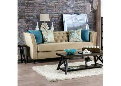 Monaghan Cream Stationary Sofa,Furniture of America