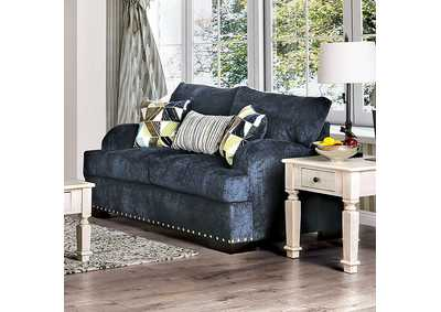 Zayla Navy Loveseat,Furniture of America