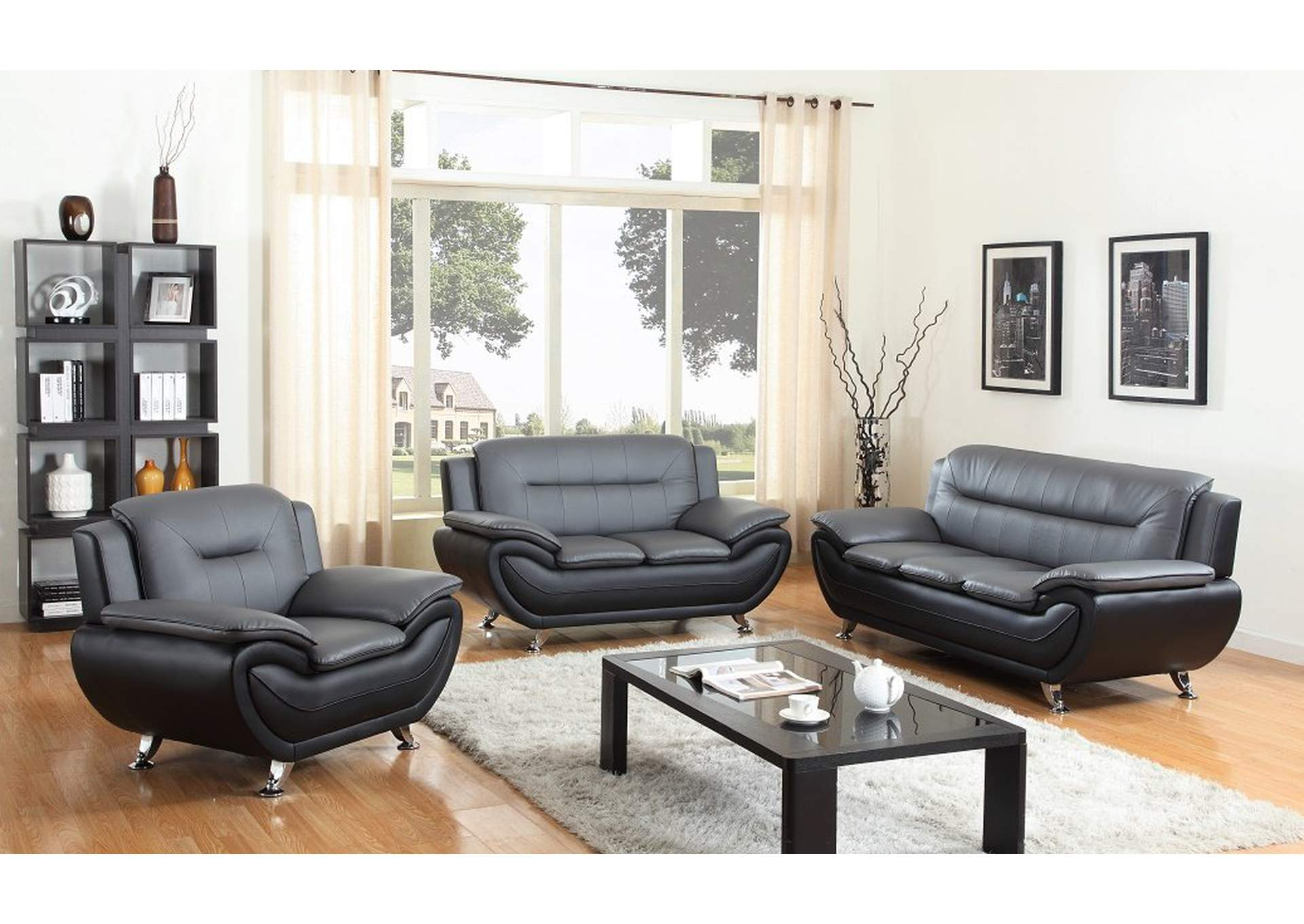Picture of: Grey Black Leather Sofa Loveseat W Chrome Legs The Furniture Outlet Ny