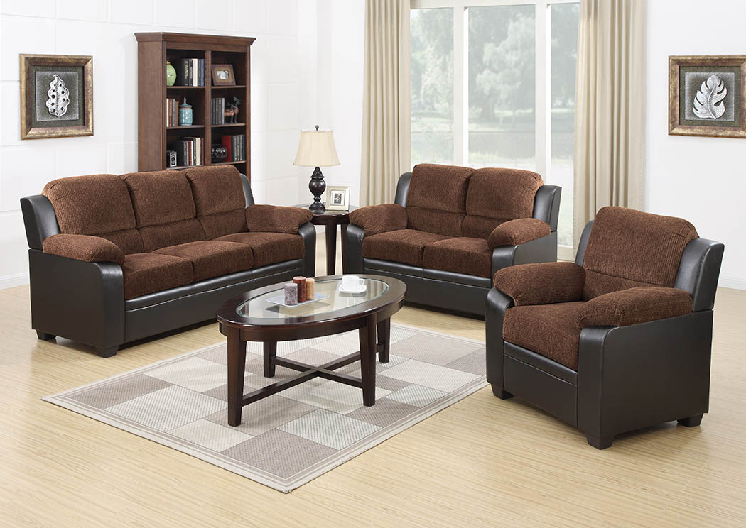 Chocolate/Cappuccino Two-Tone Sofa,Furniture World Distributors