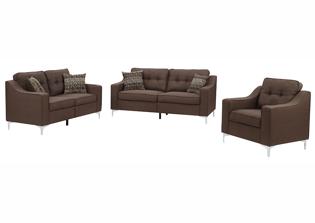 Chocolate Linen Sofa & Loveseat w/Pillows,Furniture World Distributors