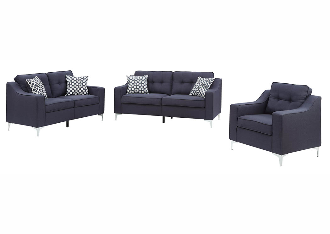 Navy Linen Sofa & Loveseat w/Pillows,Furniture World Distributors