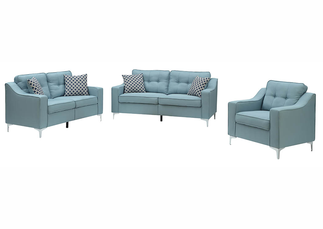 Turquoise Linen Sofa & Loveseat w/Pillows,Furniture World Distributors